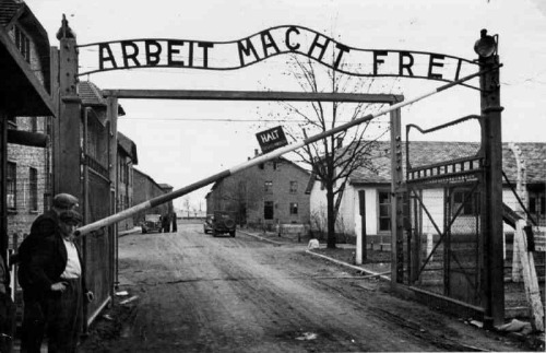 Arbeit Macht Frei (Work Means Freedom) at the entrance to Auschwitz where 1.1 million people died, 90% of them Jews