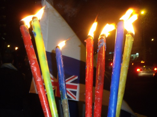 seven Chanukah candles outside the Polish centre last night