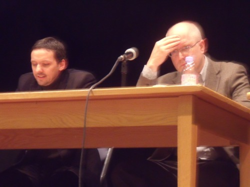 Israel Boycotter Dr. John Chalcraft (L), a reader in the History and Politics of Empire/Imperialism in the Department of Government at the LSE v Prof. Daniel Hochhauser (R), a consultant medical oncologist.