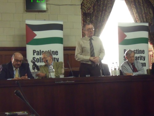 Palestinian Ambassador Dr Manuel Hassassian, Jeremy Corbyn MP, Richard Burden MP, Lord Alf Dubs