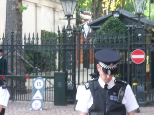 Israeli Embassy, London, under guard.