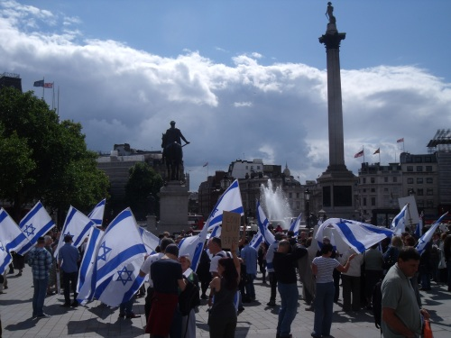 Lord Nelson keeps a watchful eye over Israel's supporters today.