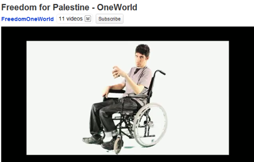 Jody McIntyre in One World's anti-Israel Freedom For Palestine video promoted by Lush.