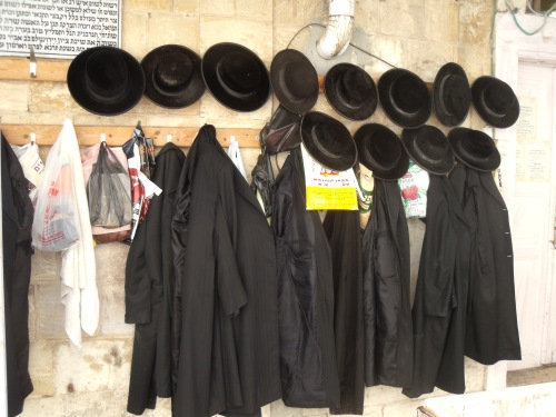 The Neturei Karta at prayer in Mea Shearim.