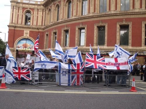 Pro-Israel rally outside Royal Albert Hall last night.
