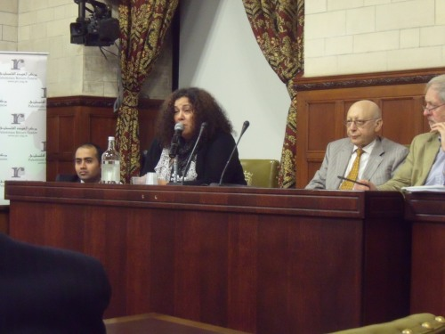 British Palestinian Manal Timraz speaking last night.