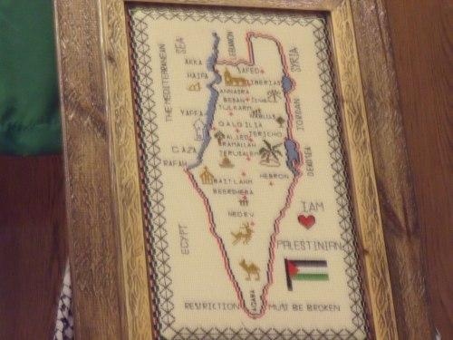 This map, without Israel, took pride of place behind all the speakers.