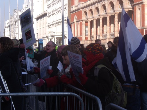 Phillip from Wales, placard in hand, shows his support for Israel.