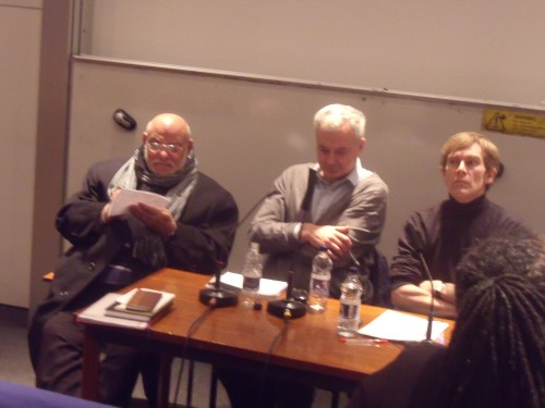 Dr Kamal El-Helbawy, Andrew Murray, Seumas Milne at the SOAS Respect meeting.