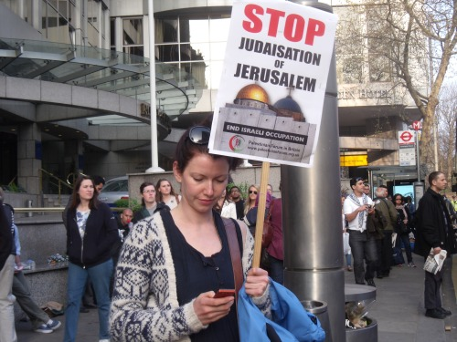 A Global March to Jerusalem activist yesterday.