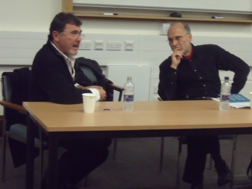 Professor Gilbert Achcar (R) and Shlomo Sand (L) at SOAS in Feb. 2011.