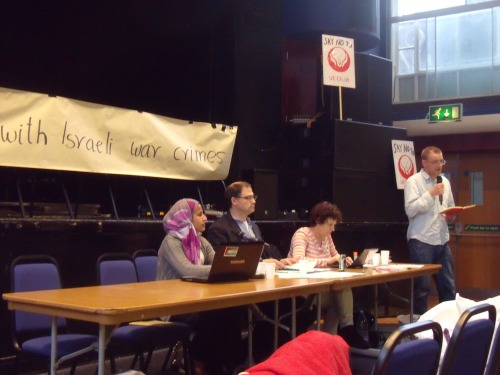 "Zena from ""Palestine"", Daniel Machover, Yael Kahn listening to an activist at ULU last night."