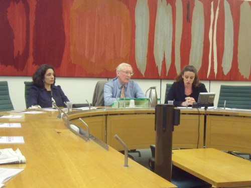 Kerry Smith (Save The Children), Lord Warner, Aimee Shalan (Medical Aid for Palestinians) last night.