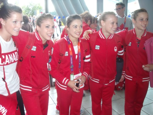 Team Canada posing for photos yesterday.
