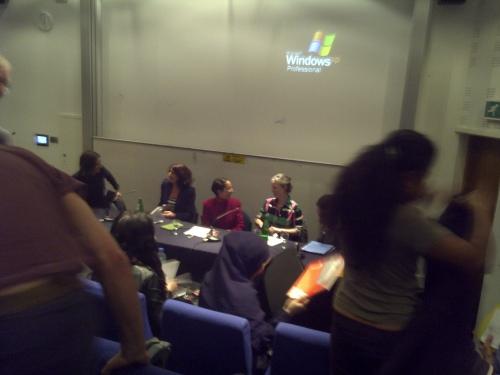Naomi Foyle, Rachel Shabi, Bidisha, Miranda Pennell, Selma Dabbagh last night.