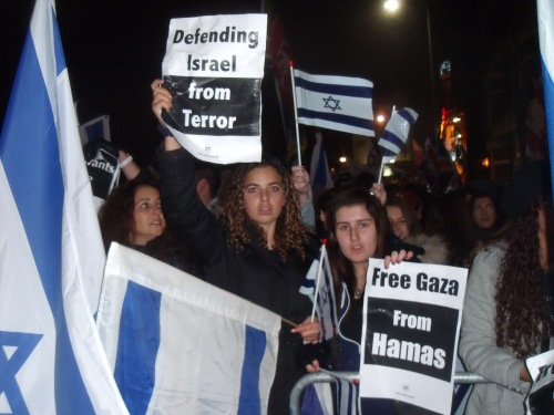 Supporting Israel outside the Israeli Embassy last night.