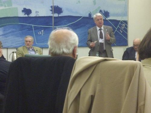 Jeremy Corbyn MP, PSC's Hugh Lanning, Manuel Hassassian in Parliament last night.