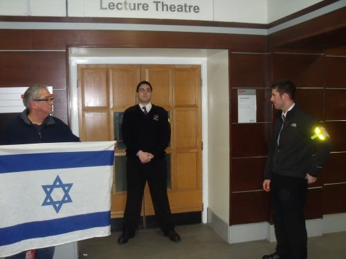 Jonathan Hoffman and security outside last night's Free Palestine Society event at Middlesex University.