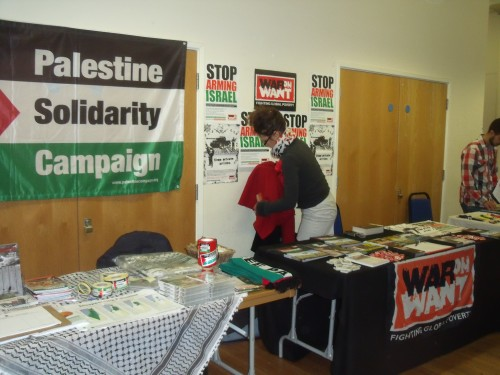 "War On Want unveil their ""Stop Arming Israel"" campaign next to PSC last night."