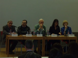 Ilan Pappe, Peter Kosminsky, Jon Snow, Karma Nabulsi, Rosemary Hollis at LSE.