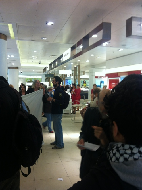 anti-Israel activists inside John Lewis.