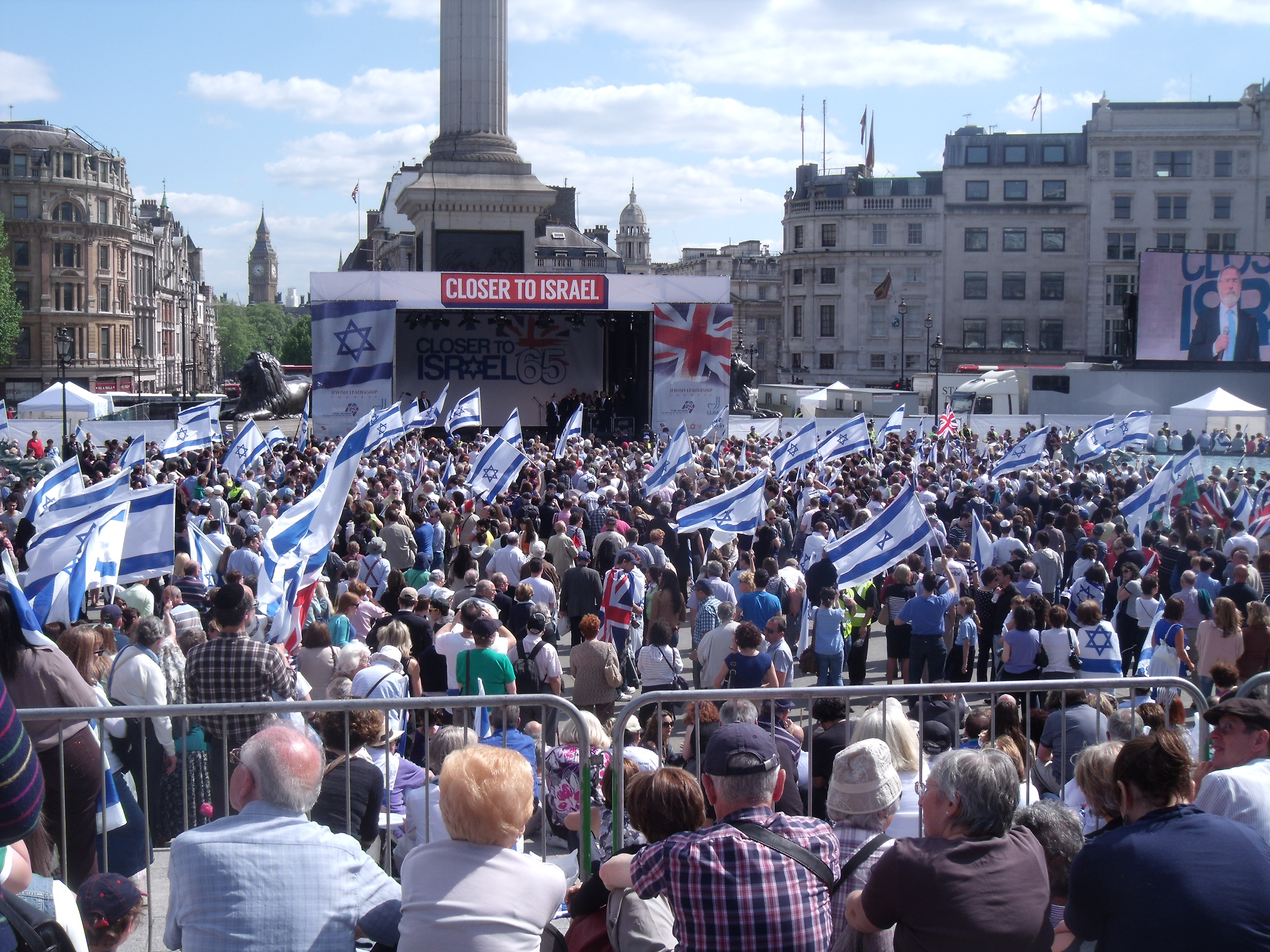 A packed and sunny Trafalgar Square for CTI65 listening to the Chief Rabbi.