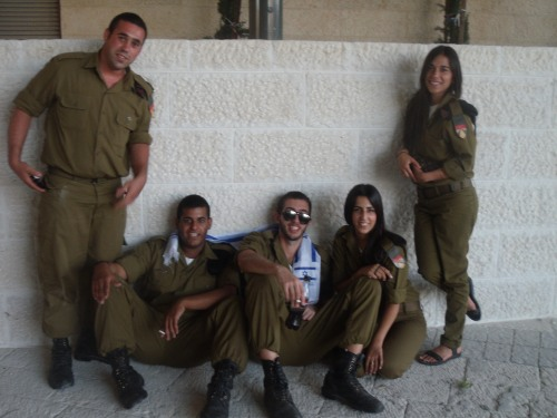 Israel Defence Forces soldiers having fun before the Israel v England game.