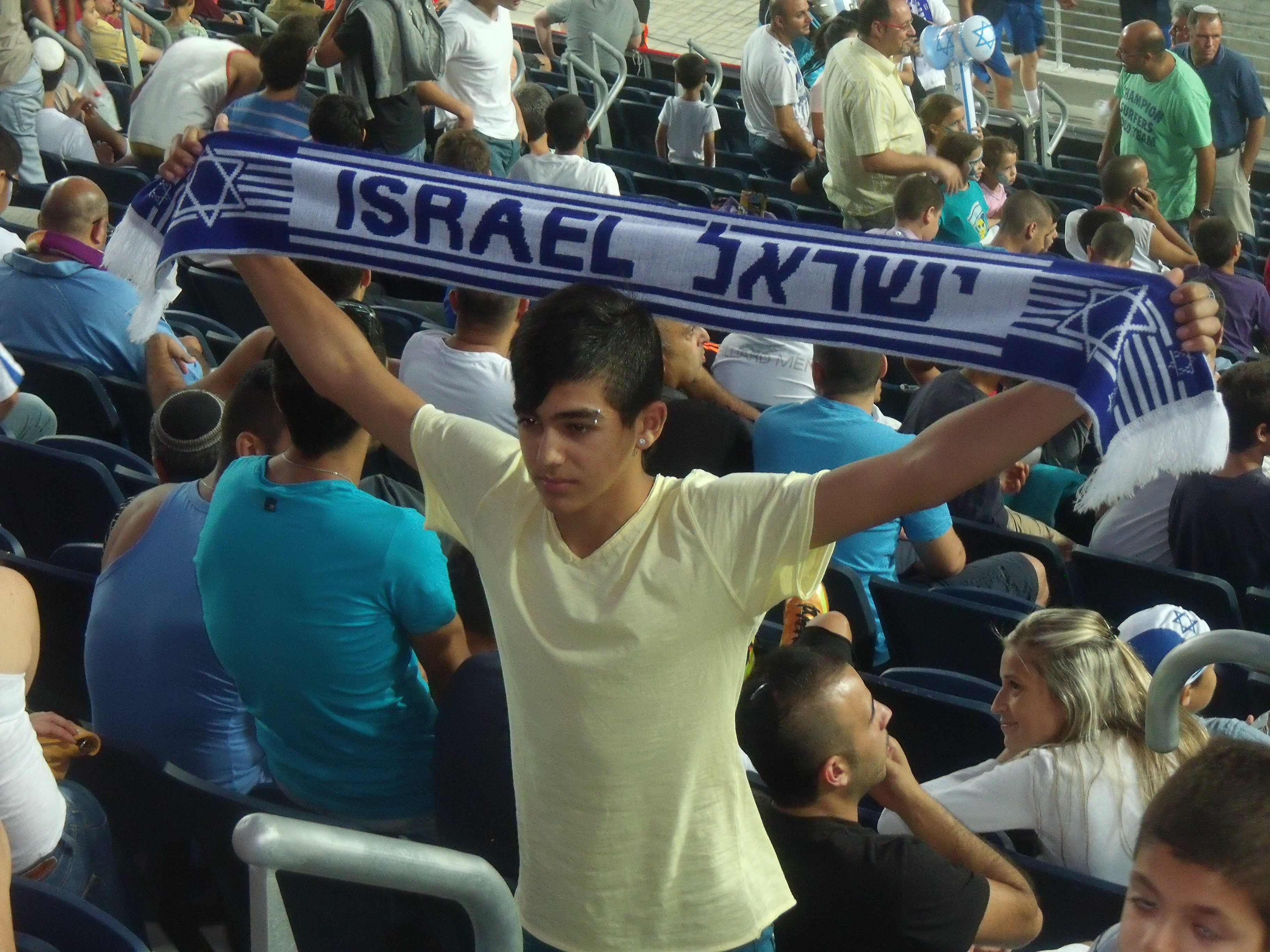 Wearing the scarf with pride.