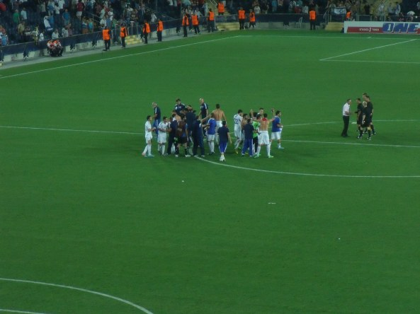 The Israeli team celebrates at the end of the game.
