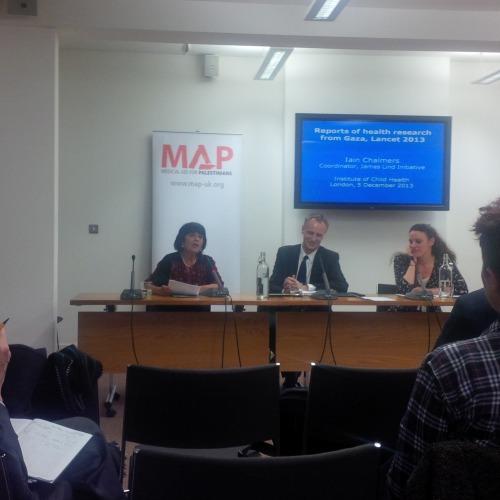 Professor Rita Giacaman, Lancet editor Dr Richard Horton, MAP's  Head of Advocacy Aimee Shalan at Royal College of Paediatrics and Child Health