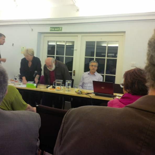 Martin Kemp, Teresa Bailey, Jeff Halper, David Harrold at the Guild of Psychotherapists, Nelson Square, London on Wednesday night.