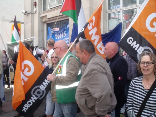 GMB and NHS members wanting to destroy Palestinian and Israeli jobs.