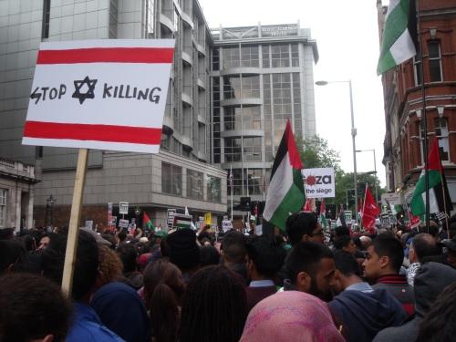 Disfiguring Israel's flag. At least they didn't burn it.