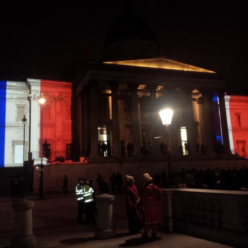 National Gallery lit up in Trafalgar Square.