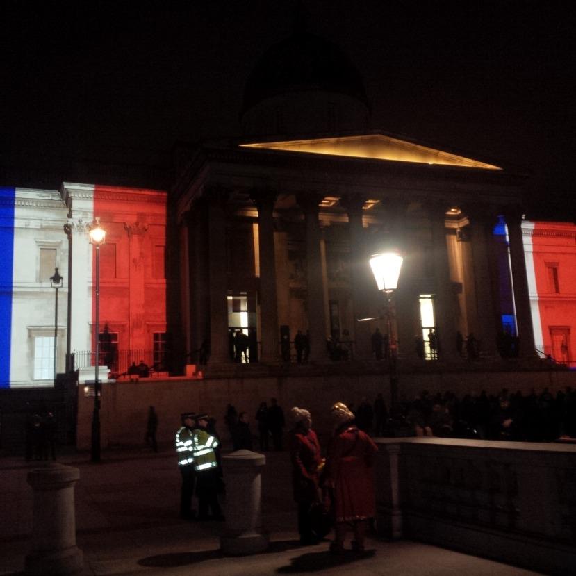 National Gallery lit up in Trafalgar Square.