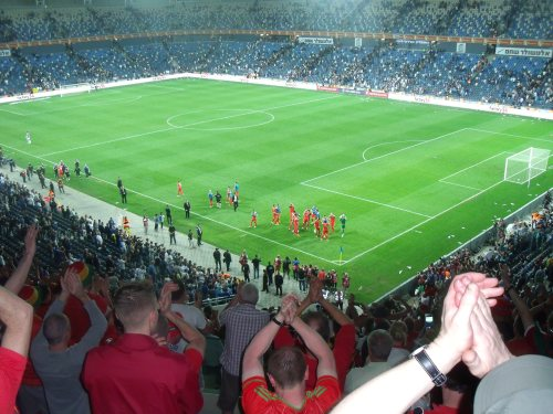 Wales players come over to applaud their supporters after the final whistle.