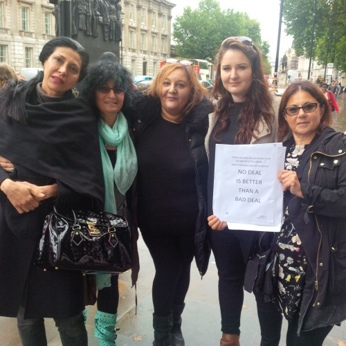 Flor, Michelle, Ambrosine, Rachel and Sharon about to deliver the letter to No. 10.