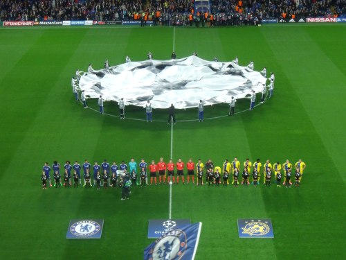 Chelsea and Maccabi Tel Aviv line up before kick off last night.