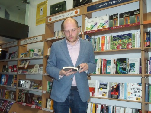 Tome Sperlinger reading from his Romeo and Juliet in Palestine on Thursday.