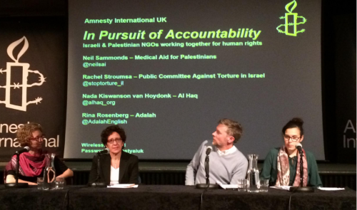 Rachel Strouma, Rina Rosenberg, Neil Sammonds, Nada Kiswanson van Hoydonk at Amnesty. on Wednesday night.