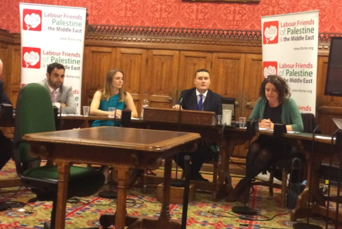 Shakir (Human Rights Watch), Thompson (Care International), Streeting, Shalan (Medical Aid for Palestinians).